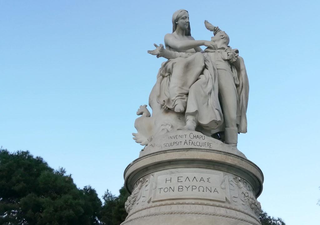 Byron, who dies in Missolonghi, is a beloved hero of the Greek cause