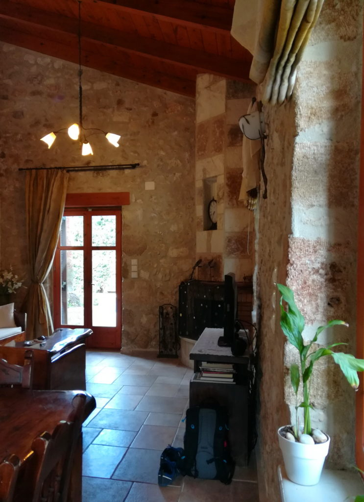 Private Villa Great Room with stone walls and high ceilings