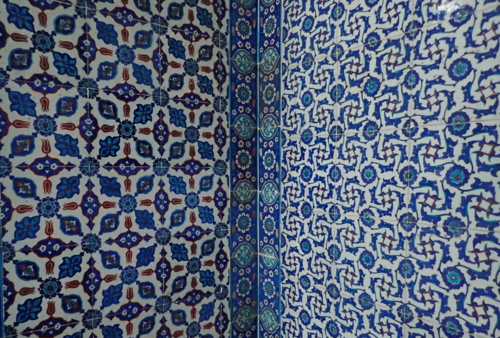 The Rüstem Pasha Mosque by Mimar Sinan is known for its wealth of beautiful Iznik tiles, inside and out.