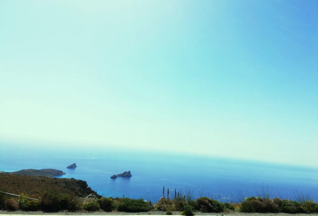 Driving in Crete - The Libyan sea comes into view from above