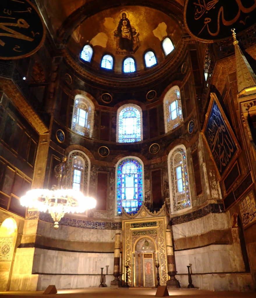 Mosque architecture- The Mihrab of Agia Sophia is just slightly to the right of the former altar, to indicate the direction of prayer