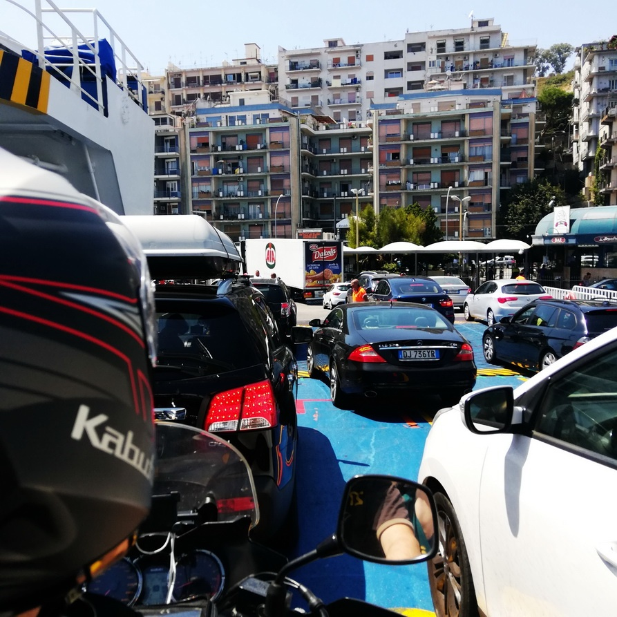 Greece to Sicily by Motorcycle -Driving off the Ferry in Messina, Sicily