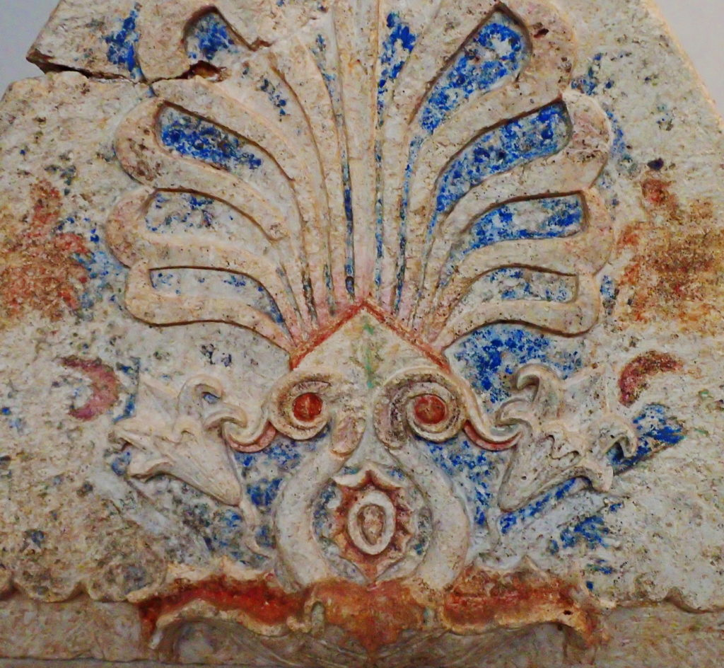 A relief sculpture with traces f pigment displays how vividly colorful ancient Thessaloniki was