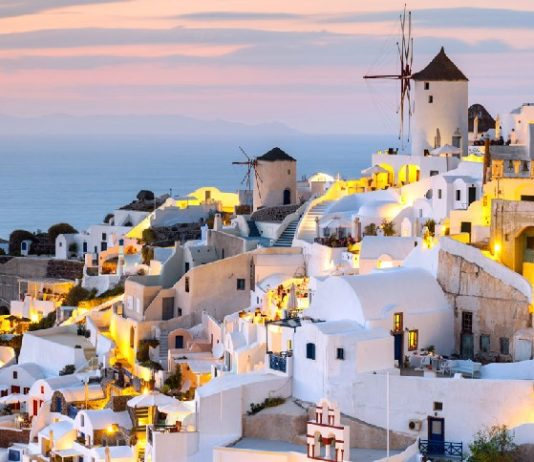 Santorini has beautiful examples of classic Cycladic architecture