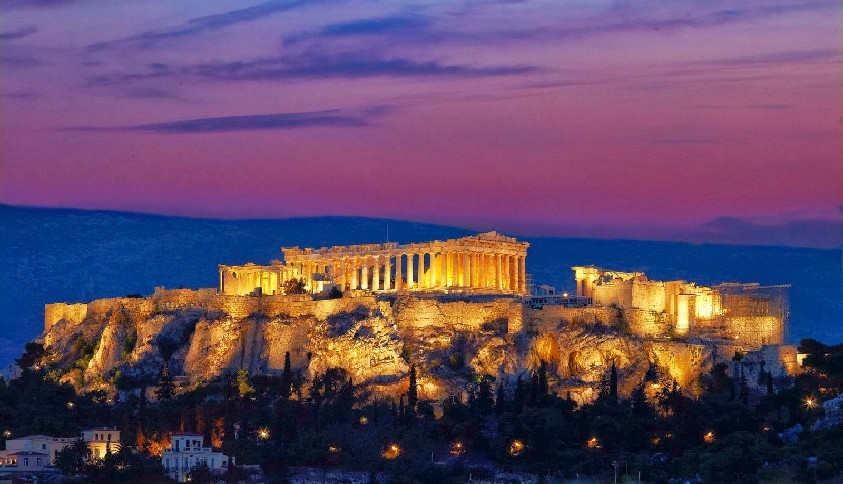 Honeymoon in Greece - The Acropolis aglow by nigh - one of the most romantic sites in Europe