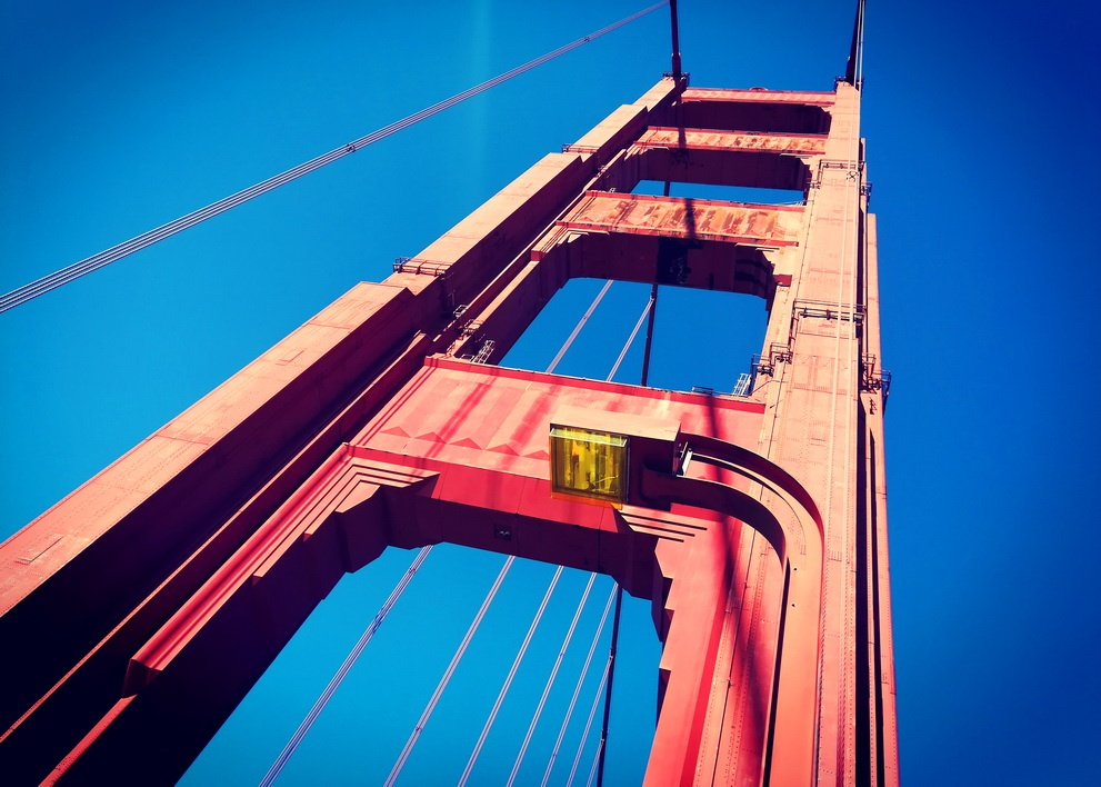 A 5 day San Francisco itinerary - The Art Deco details of the Golden Gate Bridge, glowing in International Orange