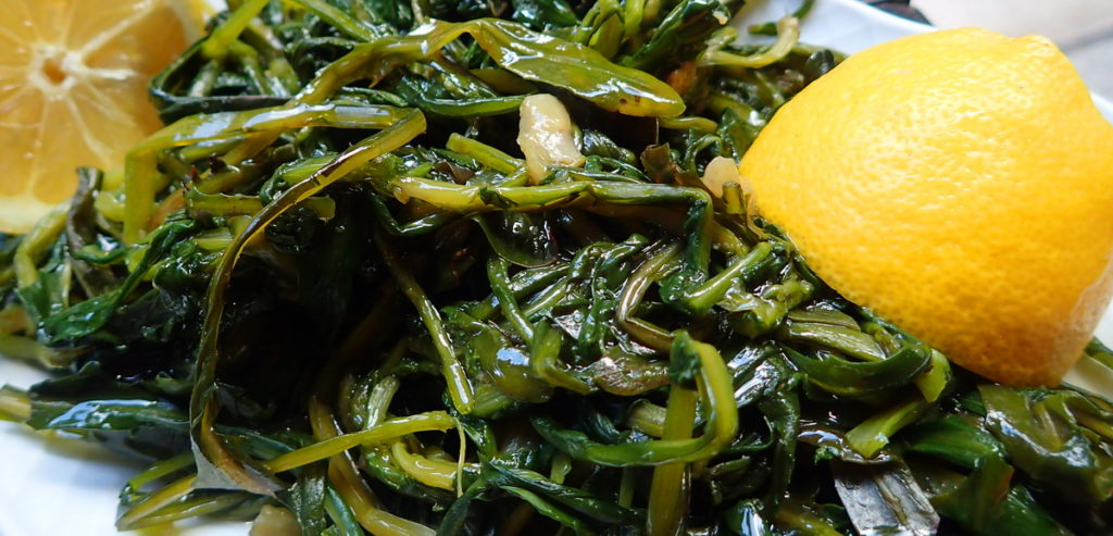 """Horta"" - boiled wild greens - are always popular with fish."