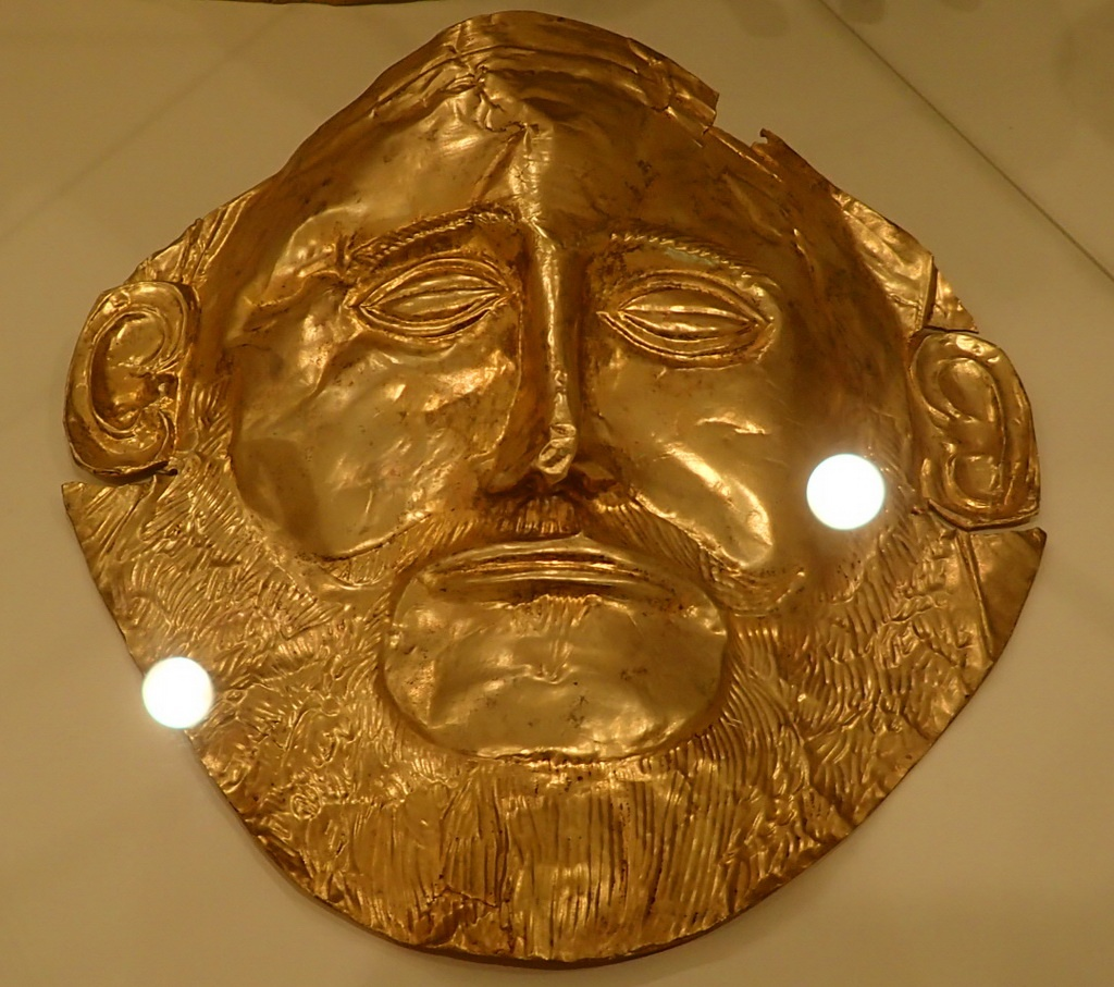 """A Replica of the """"Mask of Agamemnon"""" at the Archaeological Museum of Ancient Mycenae, near Tolo, Greece"""
