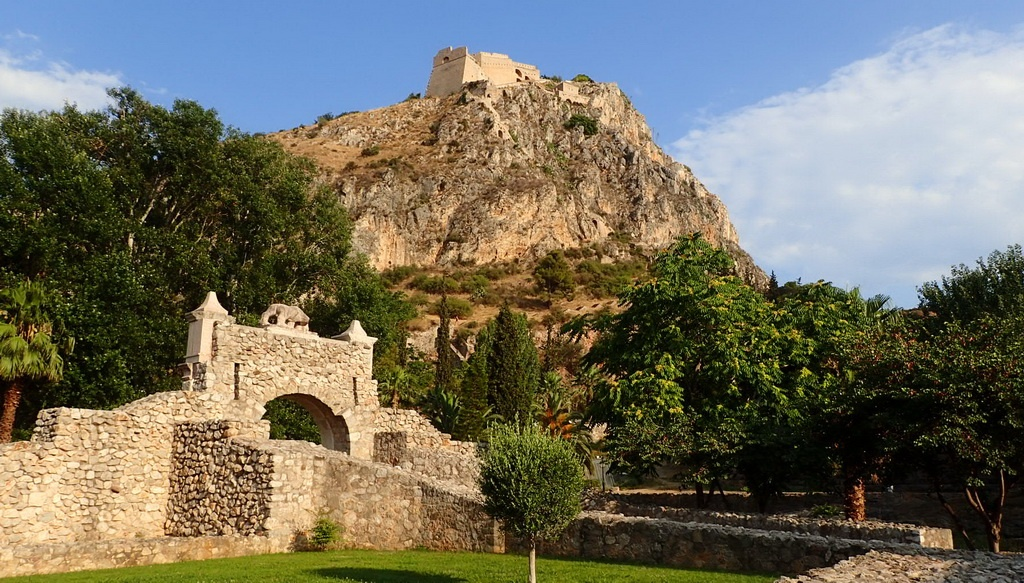 The Old City Gate of Nafplion, with the Palamidi Fortress