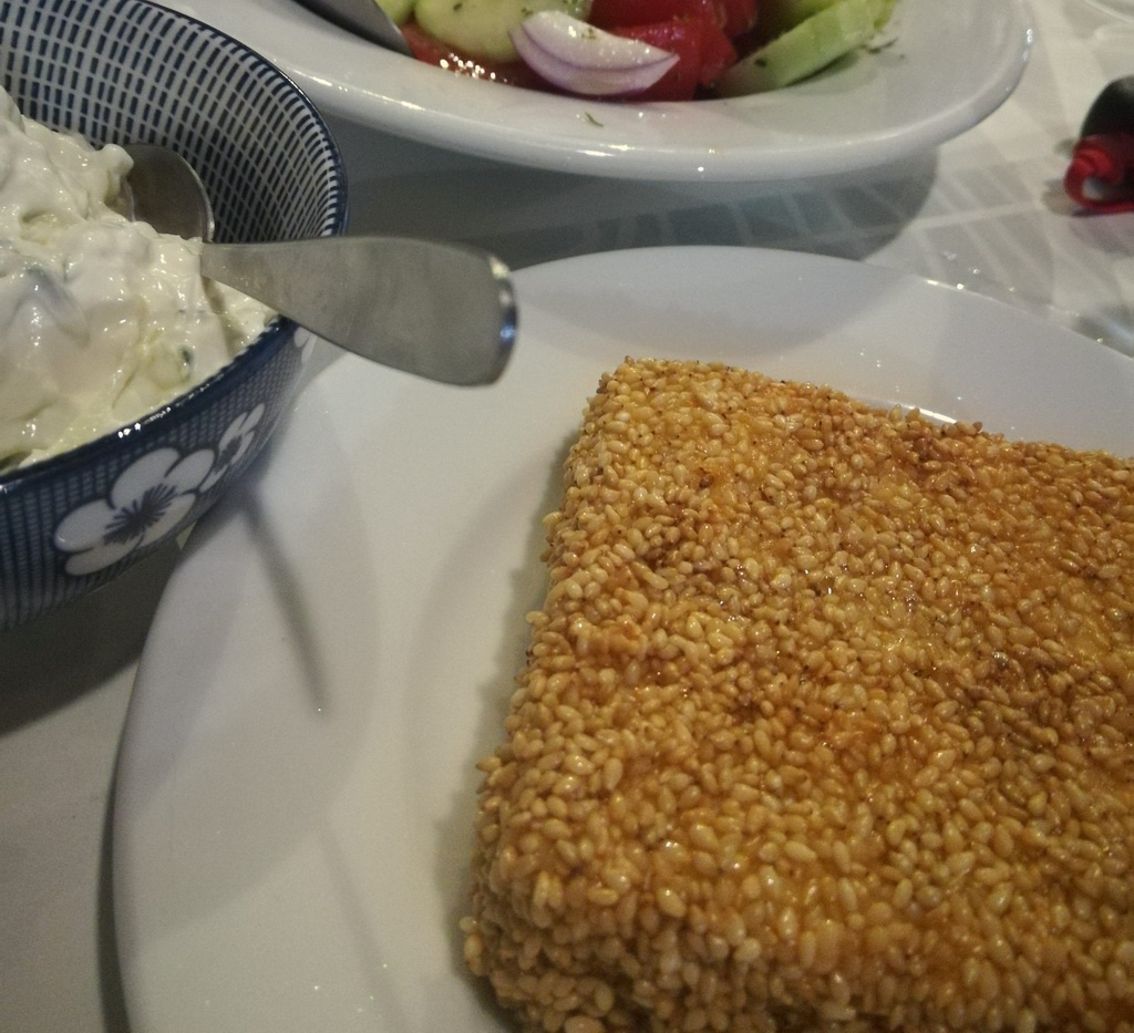 Sesame-coated Feta Saganaki at Akrogiali
