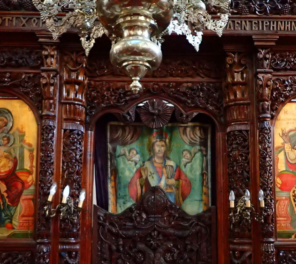 Icons and a beautifully carved iconostasis in Syrrako.