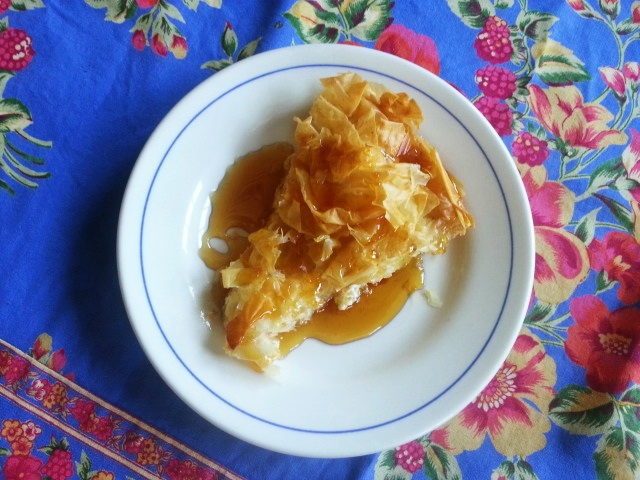 tiropita - cheese pie with honey