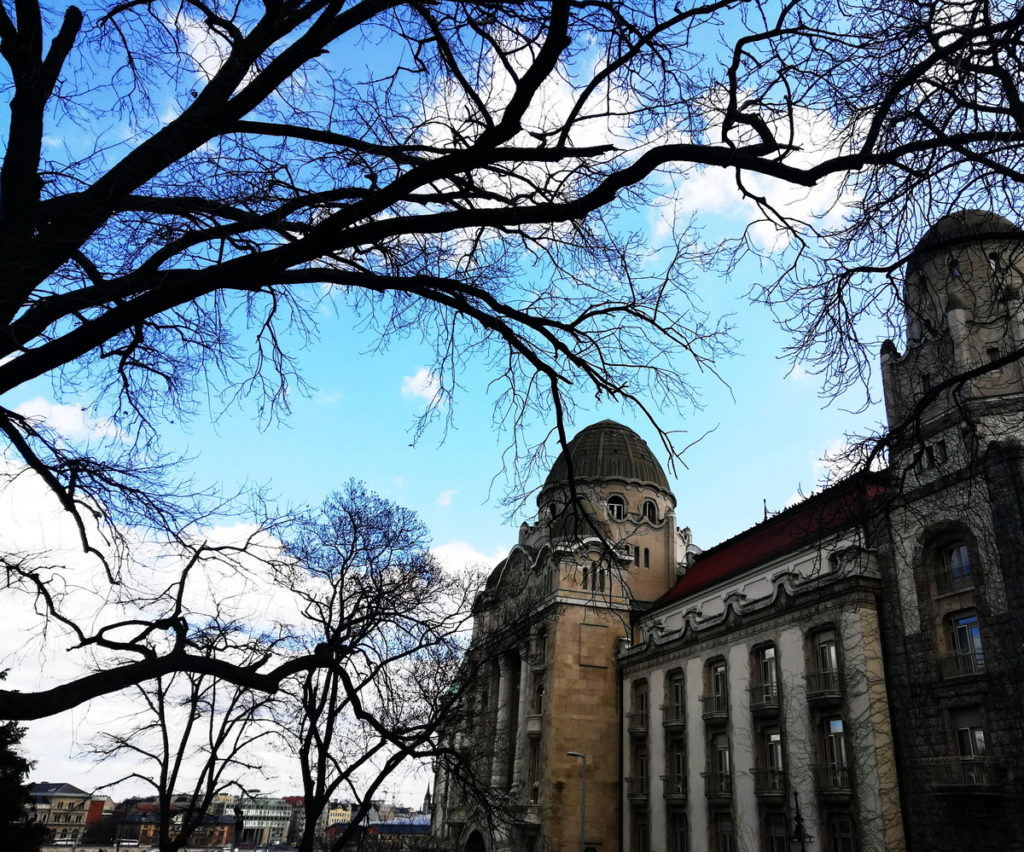 Winter in Budapest is the most serene season - here, the facade of the Gellert spa as glimpsed through bare branches
