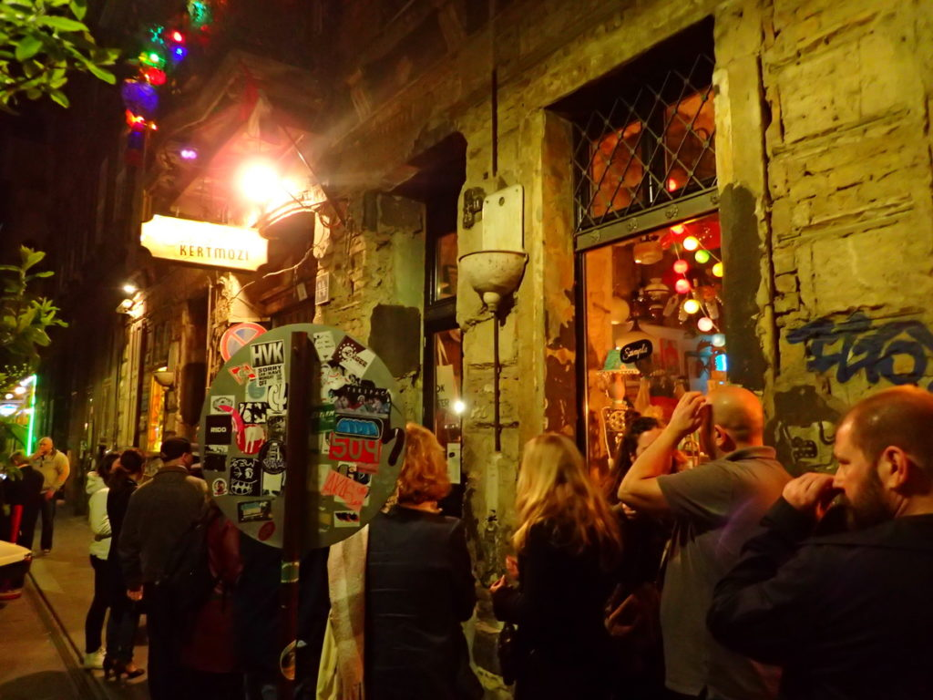 Ruin pubs are a perfect Winter in Budapest activity - here, the line outside Szimpla Kert