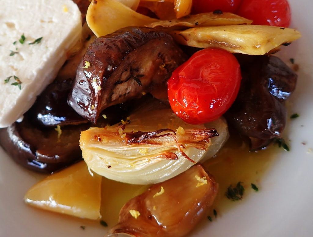 The vegetables are a little caramelized around the edges in a good briam