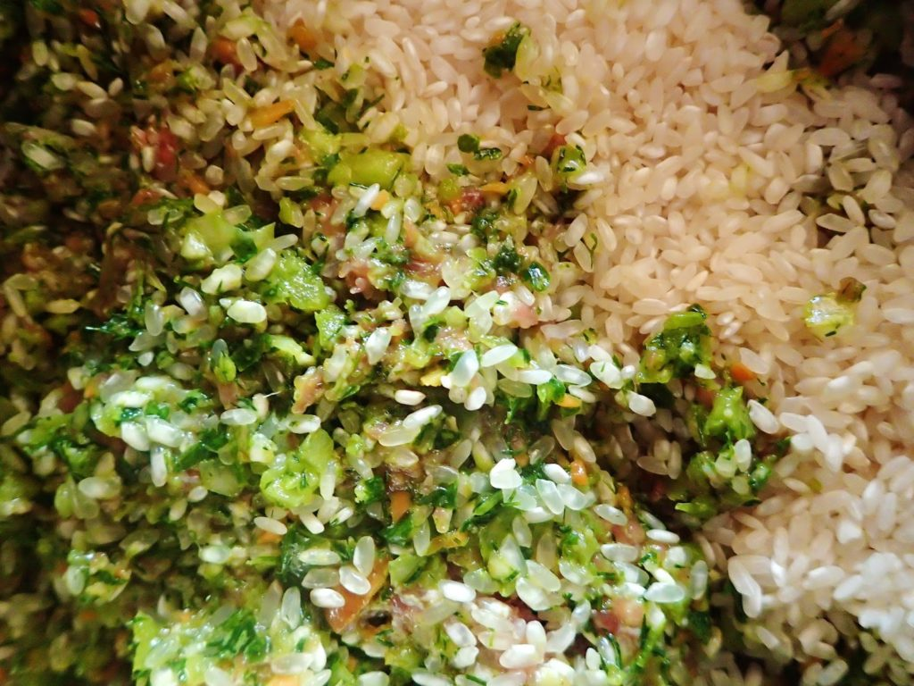 Herbs and rice in the filling for Greek Cabbage Rolls