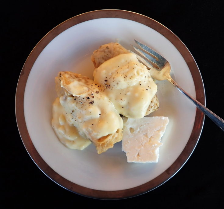 Greek Cabbage Rolls - Lahanodolmades with avgolemono sauce and feta cheese