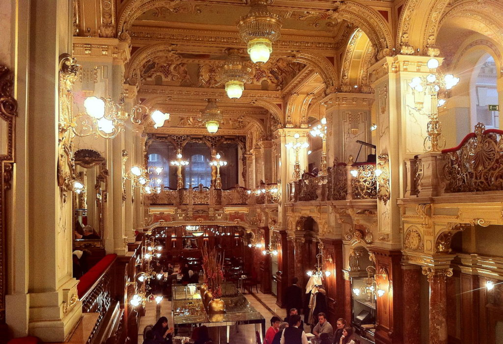 The sumptuous and ornate New York Café with high ceilings is a partculalry elegant place to warm up in winter in Budapest.