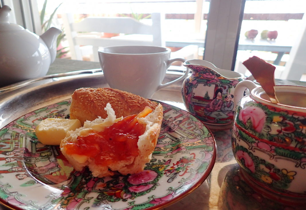 Fresh Blood Orange Marmalade on a baguette with tea service