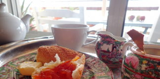 Fresh Blood Orange Marmalade on a baguette with tea service