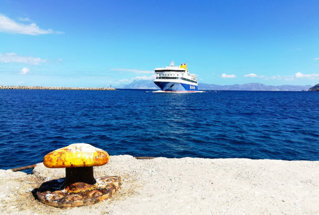 The ferry from Rhodes arriving in Fri, Kassos