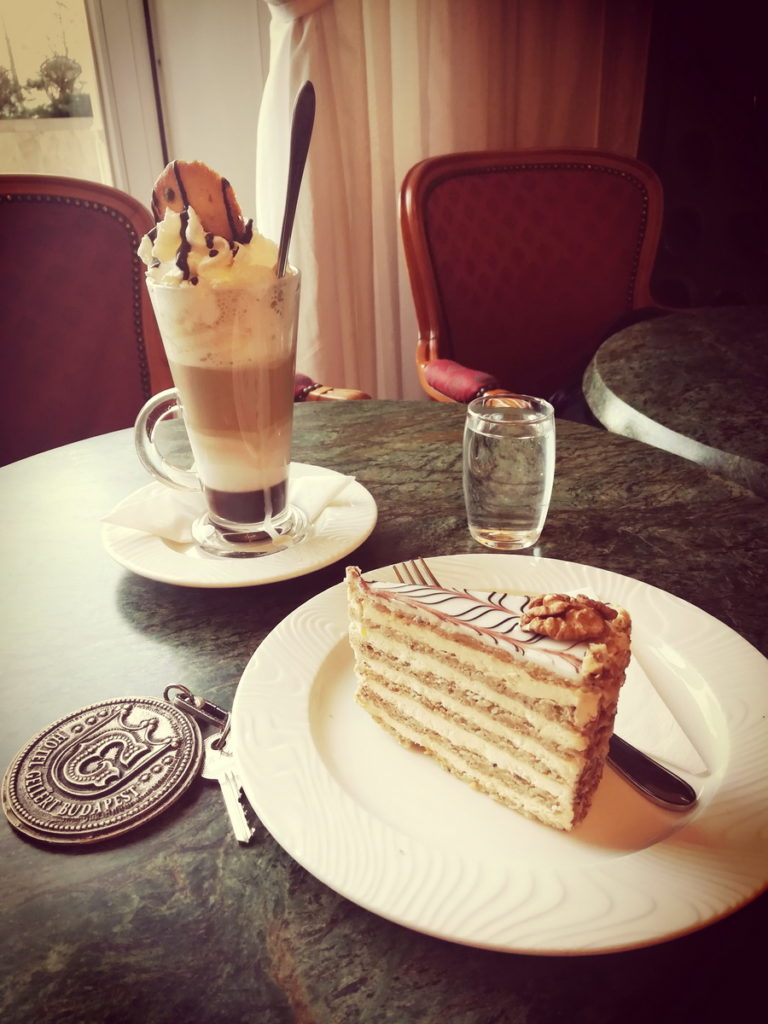 A Tall Melange with Chocolate and a Slice of Esterházy Torte on 2 or 3 days in Budapest