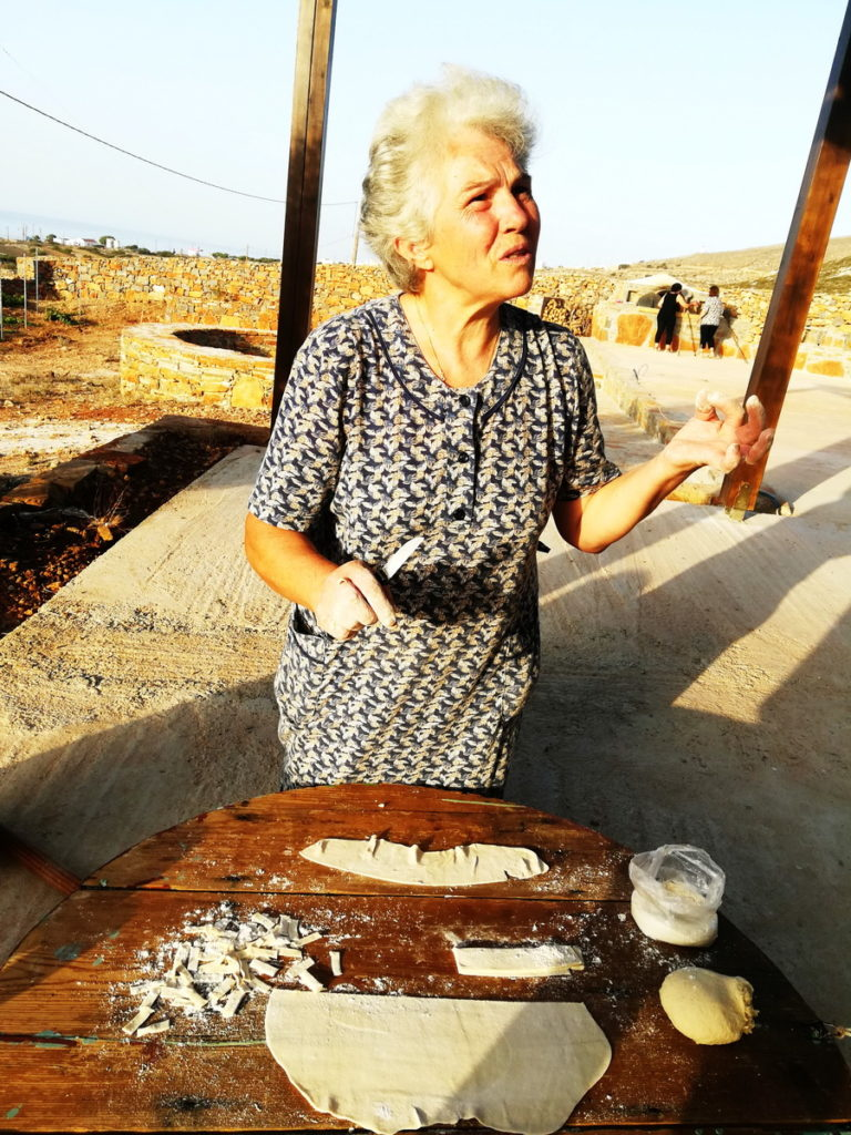 Kyria Maria, making Makarounes by hand