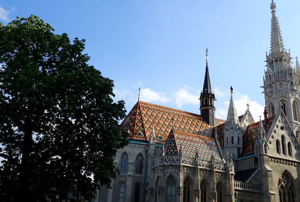 The bold diamond-patterned roof tiles added in the restoration of the Matthias Church - essential on 2 or 3 days in Budapest