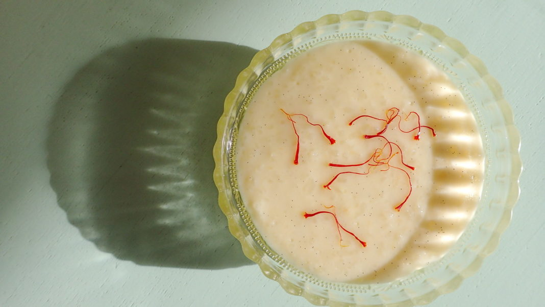 A simple syrup of saffron makes an elegant addition to rizogalo