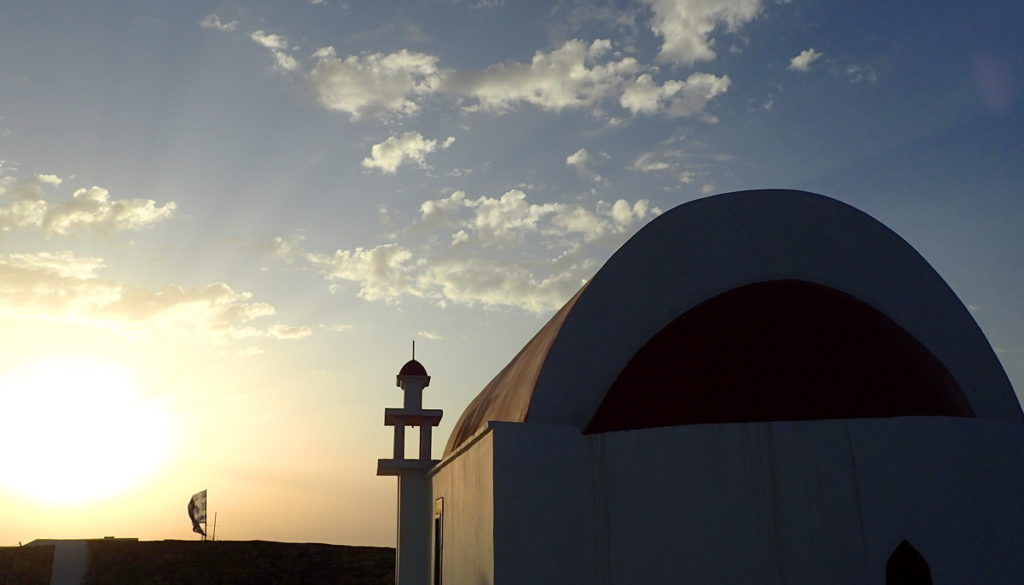 There are over 100 churches on devout Kasos. Some - like this one - communicate directly with the heavens and the seas