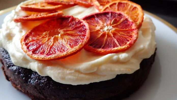 Orange Chocolate Cake with White Chocolate Cream Cheese Frosting