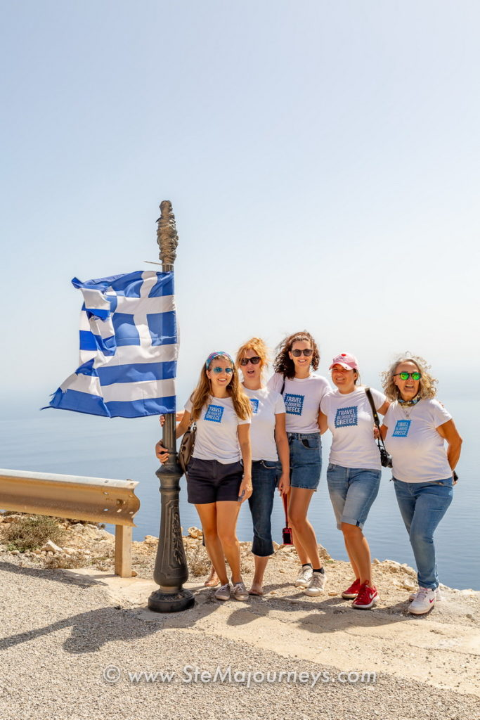 The Travel Bloggers Greece team - our friends from SteMajourneys captured us enjoying the windswept drama of the Kasos landscape.