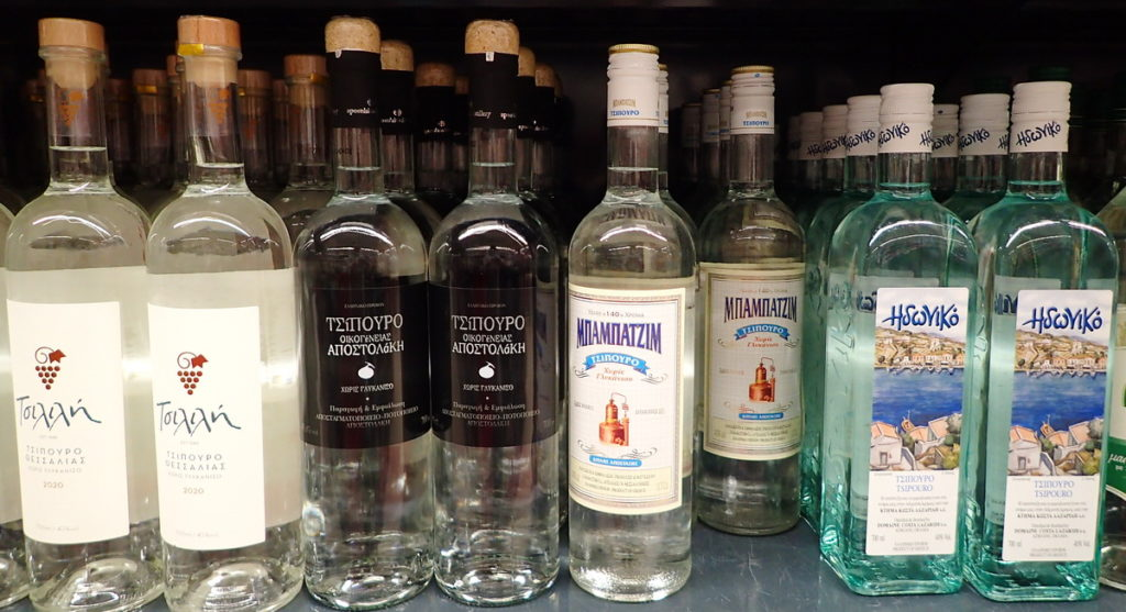 Tsilili, Apostolaki, Babazim, and Idoni are some of the most popular distillers of quality Tsipouro. ere, a shelf in a Greek supermarket