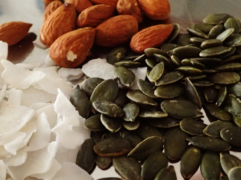 Wholesome ingredients for topping the tahini halva