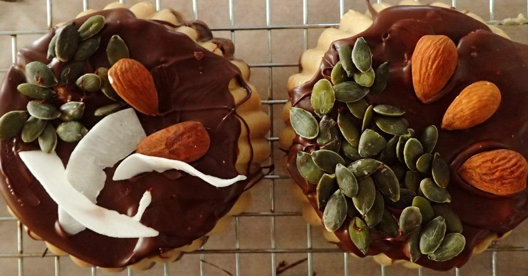 Tahini halva with dark chocolate is vegan and very popular for Greek Orthodox lent.
