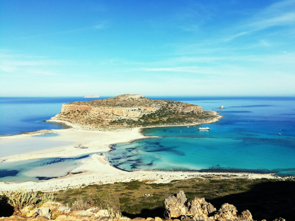 Balos Beach and Lagoon, seen here from above, is one of the most famous Chania Beaches