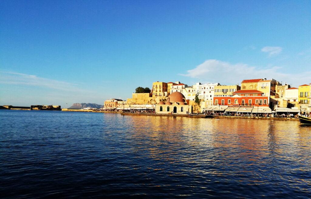 Chania Venetian Harbor is between two Chania Beaches