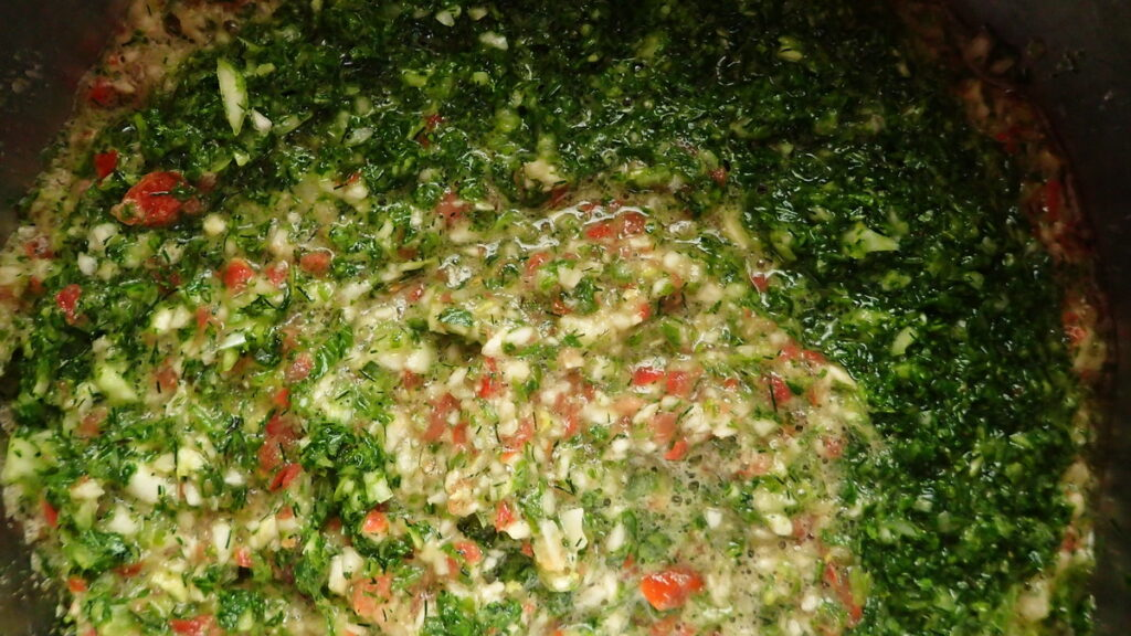The filling for dolmadakia gialantzi is full of color and fragrance